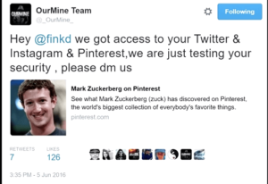 OurMine Team asserts taking over Zuckerberg's Twitter account