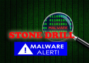 matrix background with malware alert and word stone drill