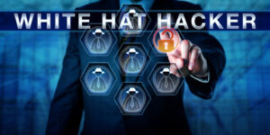 body of man in suit as white hat hacker