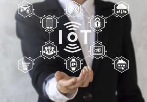 man offer iot icon with wireless symbol and tech devices network.