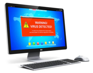 3D render of desktop computer PC with virus alert attack warning message on screen display isolated on white
