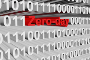 Zero day in the form of binary code, 3D illustration