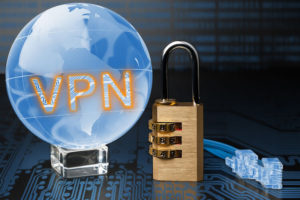 The concept of protection of internet connection via the VPN server.