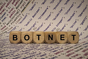 botnet - cube with letters and words from the computer, software, internet categories, wooden cubes