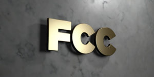 Fcc - Gold sign mounted on glossy marble wall - 3D rendered royalty free stock illustration.