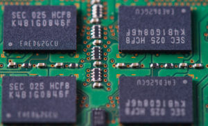 Closeup of a memory Ram chip module