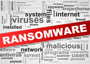 Illustration of wordcloud tags of malware ransomware concept