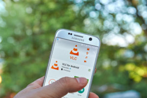 mobile phone with vlc app open