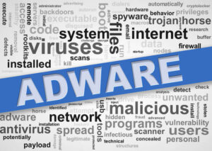 Illustration of wordcloud tags of malware adware