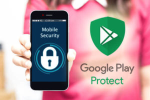 Female hands hold mobile security on smart phone