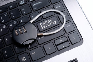 Online security in keyboard with lock
