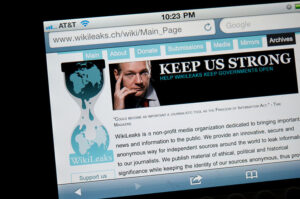 Homepage of Wikileaks.com, the controversial website famous for making public top secret communications.