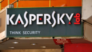 Kaspersky sign display on wall