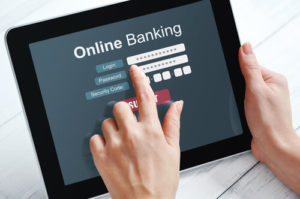 hands using online banking