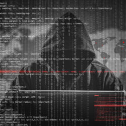 Hacker with binary background
