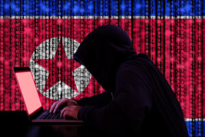 hacker with north korean flag