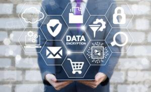 data encryption icon on virtual screen