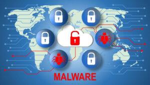 Open lock on world wide network. Illustration of malware.