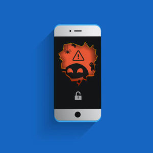 Cyber attack malware virus hacker mobile phone. Vector illustration concept.
