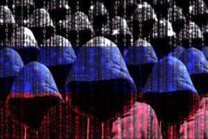 Group of hooded hackers shining through a digital russian flag cybersecurity concept