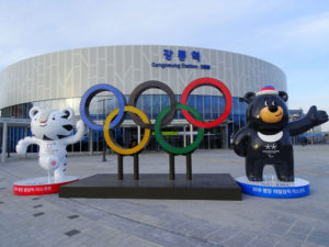 Olympic rings and mascots