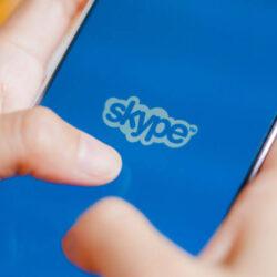Skype login screen on a mobile phone