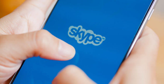 Skype login screen on a mobile phone