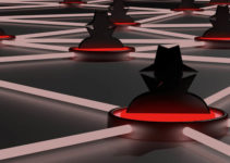 Insecure network with several red platforms connected through glowing data lines and a black hat hacker symbol 3D illustration cybersecurity concept