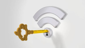 Grey wifi symbol with a keyhole on a white wall and a golden key 3D illustration