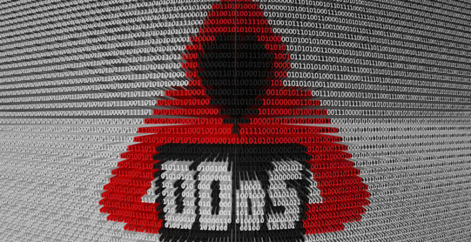 DDoS in the form of binary code, 3D illustration