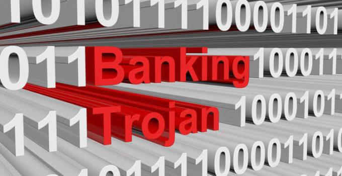 banking trojan in binary code, 3D illustration