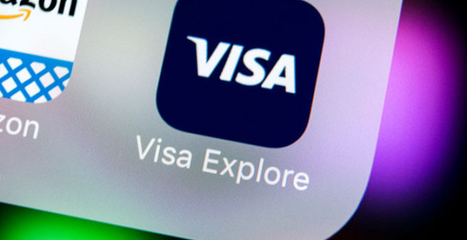 Visa application icon on Apple iPhone X screen close-up