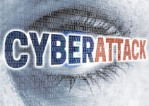 Cyberattack eye with matrix looks at viewer concept.