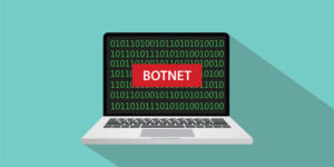 botnet concept illustration with laptop comuputer and text banner on screen with flat style and long shadow