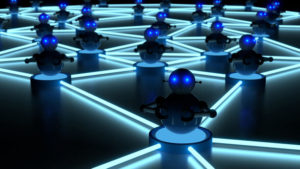 Network of blue platforms in the dark with bots on top botnet cybersecurity concept 3D illustration