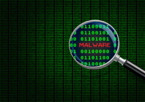 Magnifying glass enlarging malware in computer machine code
