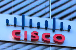 shutters and sign on the wall of of the Cisco Systems Switzerland office building.
