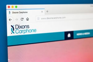 The homepage of the official website for Dixons Carphone