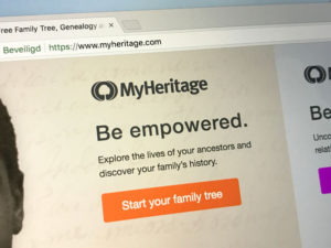 Website of MyHeritage, a popular online genealogy platform