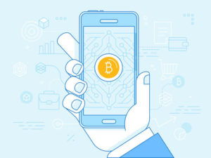 hand holding mobile phone and mining digital money app on the screen