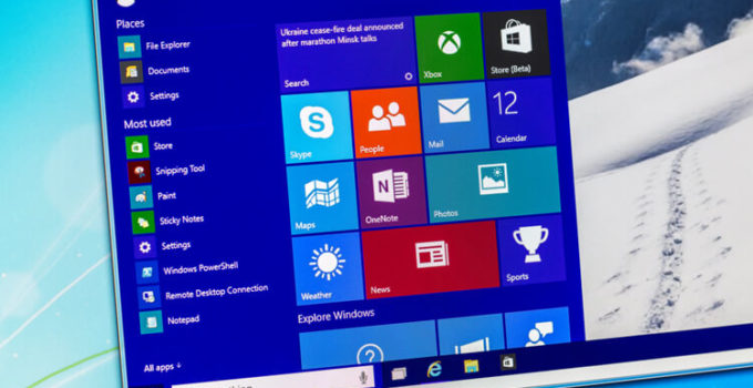 Photo of Windows 10 technical preview running in a virtual machine on a pc screen. Win10 is the new version of Windows OS; it is set for release in 2015.