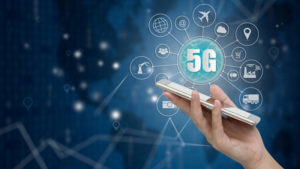 5G network wireless systems and internet of things, Smart city and communication network with smartphone in hand and objects icon connecting together, Connect global wireless devices.