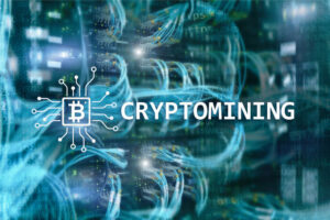 Cryptocurrency mining concept on server room background.