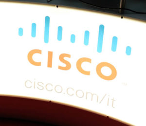 Close-up of Cisco products brand at SMAU, international fair of business intelligence and information technology October 20, 2010 in Milan, Italy.