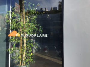 Cloudfare internet security provider Logo at headquarters