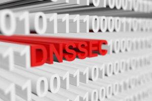 DNSSEC as a binary code with blurred background 3D illustration
