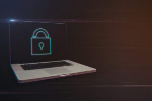 Laptop with Padlock Icon on Light Motion Background and Lens Flare - Digital 3d Effect Style Color