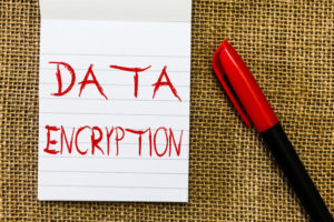 Handwriting text Data Encryption. Concept meaning Symmetric key algorithm for the encrypting electronic data