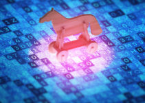 Cyber security concept. Toy horse on a digital screen, symbolizes the attack of the Trojan virus. 3D illustration.