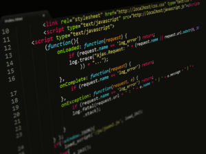 Code,JavaScript in text editor, Programming prevent hacks in internet security